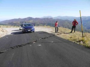 Location of survey site at rupture across a road near Castelluccio, Italy. The rupture occurred during the third earthquake in the seismic sequence and gives researchers a record of the deformation.