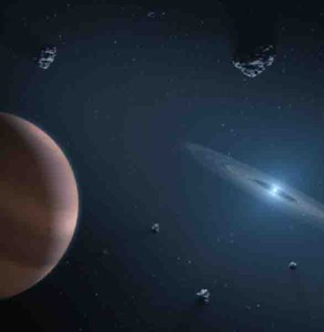 Artists impression of white dwarf star (on right) showing dust disc, and surrounding planetary bodies.