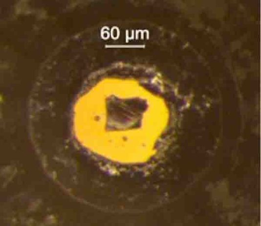 The diamond anvil in which samples of magnesiowüstite