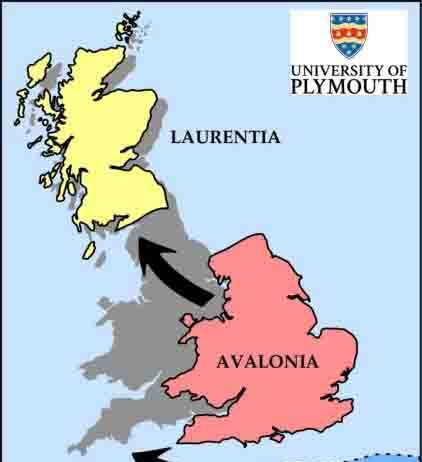This graphic shows how the ancient land masses of Laurentia, Avalonia and Armorica would have collided to create the countries of England, Scotland and Wales.