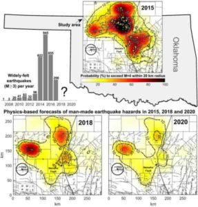 This image shows widely-felt earthquakes that struck north-central Oklahoma and southern Kansas