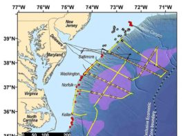 The Mid-Atlantic Resource Imaging Experiment (MATRIX) collected reflection seismic data along more than 2000 km of trackline shown in yellow.