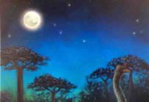 Giant nocturnal elephant birds are shown foraging in the ancient forests of Madagascar at night.