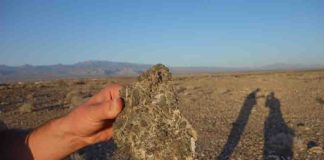 Deposits from a landslide outside Pahrump, Nevada.