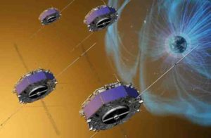 Artist depiction of the MMS spacecraft that provided the first view of magnetic reconnection. Credit: NASA/GSFC