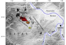 """Map of the locations and depths of the deep low-frequency (DLF) earthquakes beneath the Laacher See Volcano (""""Lake Laach Volcano"""") in Germany. Brittle earthquakes are marked as circles, DLF events as stars. Credit: Hensch et al."""