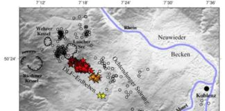 "Map of the locations and depths of the deep low-frequency (DLF) earthquakes beneath the Laacher See Volcano (""Lake Laach Volcano"") in Germany. Brittle earthquakes are marked as circles, DLF events as stars. Credit: Hensch et al."