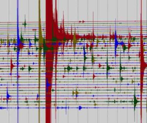 A snapshot of seismic data taken at a single station during the peak of an aftershock sequence