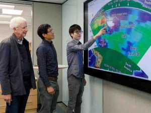 University of Houston researchers John Suppe, left, Jonny Wu and Yi-Wei Chen have reconstructed the ancient plates under the Andes Mountains. Credit: University of Houston