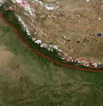 Where plates collide: The main frontal thrust (red line) extends over the entire length of the Himalayas. Credit: NASA Earth Observatory