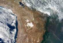 The central Andes Mountains and surrounding landscape, as seen in this true-color image from NASA's Terra spacecraft, formed over the past 170 million years as the Nazca Plate lying under the Pacific Ocean has forced its way under the South American Plate. Credit: NASA
