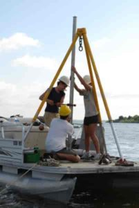 Taking a soil core from underwater soil is a bit trickier than soil that's on the surface. Scientists have to utilize boats and plunge the sampling equipment through water and down into the soil.