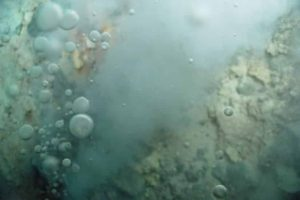 Bubbles of liquid carbon dioxide float out of the seafloor at a vent on Northwest Eifuku volcano off the coast of Japan.