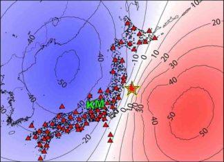A map of Japan showing locations for the epicenter of the 2011 Tohoku earthquake (✩),Kamioka (K), Matsushiro (M) and seismic survey instruments used (△ and ●). Credit: 2019 Kimura Masaya