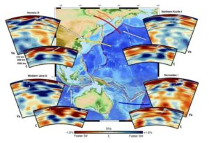 Cross-sections of Earth's mantle down to 1,400 km depth showing changes in its flow as ancient ocean beds fall into Earth's deep interior.
