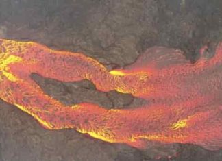 Lava flow, Kilauea eruption, 2018. Drone image from Einat Lev