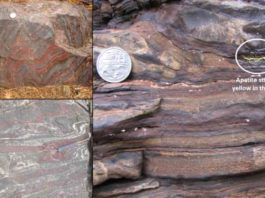 Rocks with banded iron formations and biosignatures - 1,900 million years old, Michigan, US (top left), 2,700 million years old, Ontario, Canada (bottom left) and 2,500 million years old, Karijini National Park, Western Australia (right).