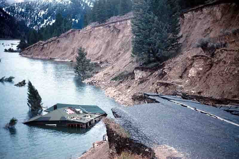 State Highway 287 slumped into Hebgen Lake; damage from the August 1959 Hebgen Lake (Montana-Yellowstone) earthquake.
