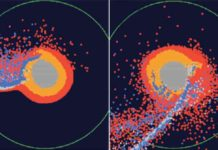 Snapshots of numerical modeling of the moon's formation by a giant impact. The central part of the image is a proto-Earth; red points indicate materials from the ocean of magma in a proto-Earth; blue points indicate the impactor materials.
