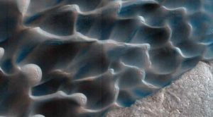 The retreat of Mars' polar cap of frozen carbon dioxide during the spring and summer generates winds that drive the largest movements of sand dunes observed on the red planet.