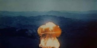 The 37 kiloton 'Priscilla' nuclear test, detonated at the Nevada Test Site in 1957. Credit: US Department of Energy