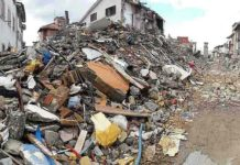 Earthquake damage in the centre of Amatrice, Italy, in 2016 (