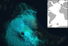 False colour Landsat 8 satellite image of Saunders Island and the lava lake within the crater of Mount Michael (image acquired 31/01/2018). Inset map shows the location of Saunders Island.