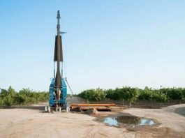 Groundwater well drilling equipment in California's Central Valley. Photo Credit: Chad Ress