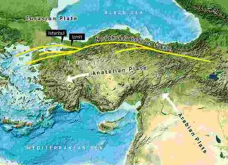 Along the North Anatolian Fault, Anatolia and the Eurasian Earth Plate push past each other. Image reproduced from the GEBCO world map 2014, www.gebco.net