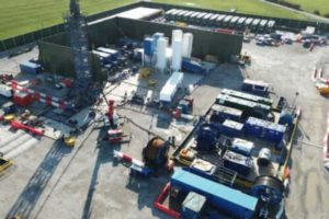 Aerial view of the hydraulic fracturing rig at Cuadrilla's Preston New Road site. Credit: Matthew Hampson, Cuadrilla Resources Ltd