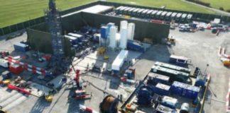 Aerial view of the hydraulic fracturing rig at Cuadrilla's Preston New Road site. Credit: Matthew Hampson, Cuadrilla Resources Ltd