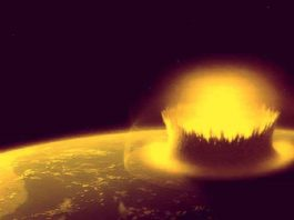 Depictions of large asteroids striking Earth, which, during parts of its early history, would have had a much thicker atmosphere than it does today. Credits: NASA with modifications by Stephen Mojzsis