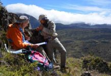 Study co-author Rob Coe and Trevor Duarte orienting cores from a lava flow site recording the Matuyama-Brunhes magnetic polarity reversal in Haleakala National Park, Hawaii, in 2015