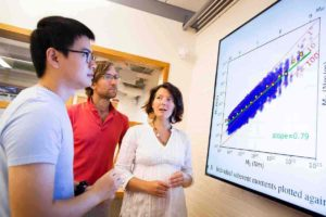 Marine Denolle (right) and her team, including Jiuxun Yin (left) and Brad Lipovsky, created numerical models to predict an earthquake's final magnitude 10 to 15 seconds faster than today's best algorithms. Credit: Stephanie Mitchell/Harvard Staff Photographer