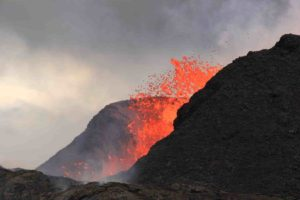 Lava fountains at Kilauea in Hawaii created a spatter cone, which was estimated to be 180 feet tall in this June 2018 photo. Credit: U.S. Geological Survey