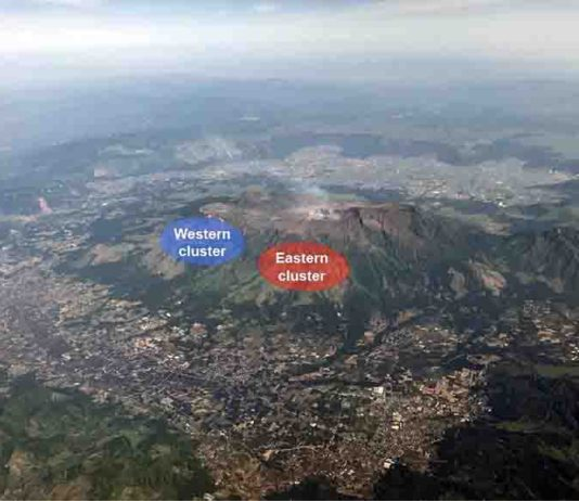 A picture of Mt. Aso, including locations of eastern and western clusters. Credit: Aso Geopark Promotion Council