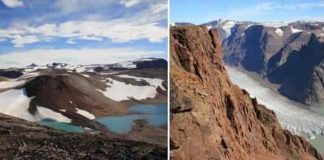 Photographs of alkaline magmatic intrusions in Greenland. The region was volcanically and tectonically active around 1.2 billion years ago. Although no longer active, it is of major interest to geologists because the subsequent uplift and glacial erosion have cut deep into the rift and exposed the magma chambers that once lay well below the surface. Greenland's magmas were sourced from a mantle that was enriched and contaminated by ancient crustal materials. Credit: University of St Andrews