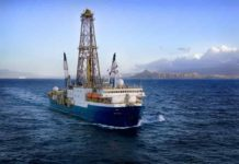 Research vessel JOIDES Resolution off the coast of Hawaii. Credit: International Ocean Discovery Program.