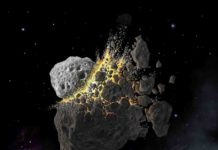 Illustration of the giant asteroid collision in outer space that produced the dust that led to an ice age on Earth. Credit: (c) Don Davis, Southwest Research Institute