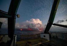 Kīlauea lava entry on the southeast coastline of Hawai'i Island as seen from UH research vessel Kaimikai o Kanaloa. Credit: Ryan Tabata, UH.