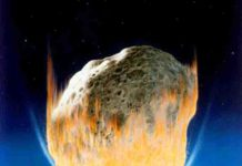 An artist's interpretation of the asteroid impact that wiped out all non-avian dinosaurs. Credit: NASA/Don Davis.