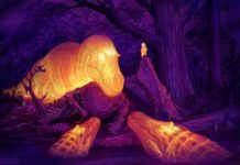 A graphic thermal image of a T. rex with its dorsotemporal fenestra glowing on the skull. Illustration courtesy of Brian Engh.