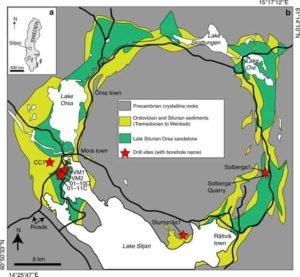 Maps of the Siljan impact structure and study locations. a Map of Sweden with the Siljan area indicated. b Geological map of the Siljan impact structure with locations of the cored boreholes and the quarry sampled for mineral coatings indicated, along with the sedimentary units in the crater depression, towns, lakes (white) and roads (black lines). Gas compositions exist from boreholes VM2 and VM5 (located adjacent to VM2). Credit: Nature Communications, 2019