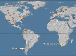 A world map that shows where similary platinum spikes have been discovered in the world. The latest discovery is at the Wonderkrater site in Limpopo Province, South Africa. Credit: Francis Thackeray/Wits University