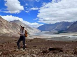 As part of MISTI-India, Megan Guenther, a junior in EAPS, records field notes about the landscape of the Kohistan-Ladakh region of the Himalayas in northern India. Credit: Craig Martin
