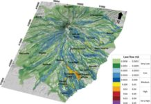 Oblique view of the risk map for lava flow inundation on the flanks of Mt. Etna for the next 50 years.