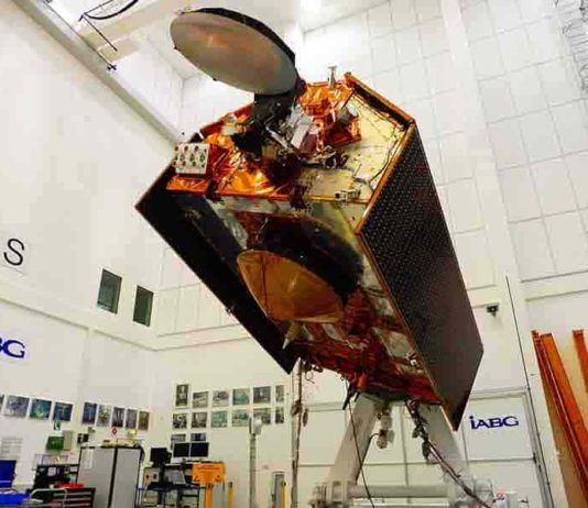 The Sentinel-6A spacecraft sits in its clean room in Germany's IABG space test center. The satellite is being prepared for a scheduled launch in November 2020 from Vandenberg Air Force Base in California. Credit: IABG