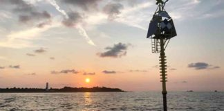 The shallow water buoy can detect small movements and changes in the Earth's seafloor that are often a precursor to deadly natural hazards, like earthquakes, volcanoes and tsunamis. Credit: University of South Florida