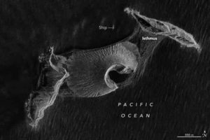 An October 7th, 2019 image of Hunga Tonga-Hunga Ha'apai from NASA Earth Observatory. Credit: Joshua Stevens, using RADARSAT-2 data courtesy of James Garvin/NASA GSFC