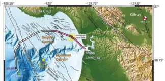 Researchers employed 20 kilometers (pink) of a 51-kilometer undersea fiber-optic cable, normally used to communicate with an off-shore science node (MARS, Monterey Accelerated Research System), as a seismic array to study the fault zones under Monterey Bay.